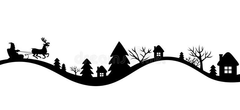 Paisaje de los inviernos con el trineo de Papá Noel stock de ilustración