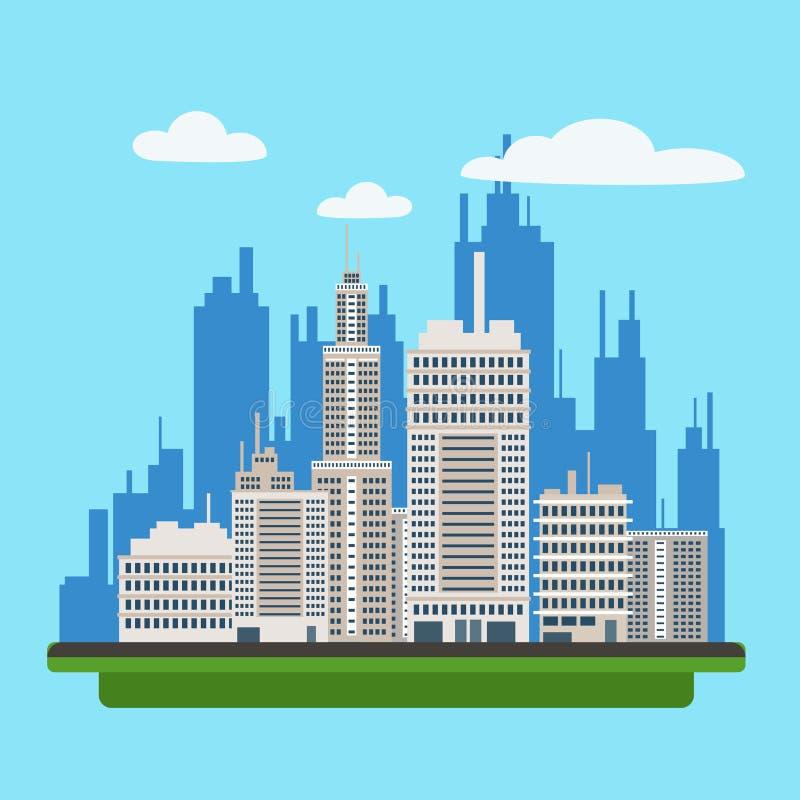Paisaje de Megapolis con los edificios modernos de la ciudad grande ilustración del vector