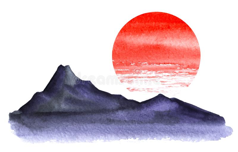 Paisaje de Minimalistic Silueta oscura de altas montañas Círculo rojo brillante del sol stock de ilustración