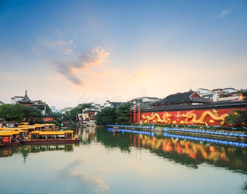 Paisaje de Nanjing en la oscuridad foto de archivo