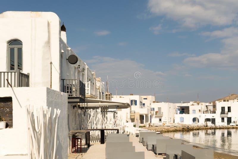 Paisaje de Naousa por la mañana en la isla de Paros en Grecia imagen de archivo