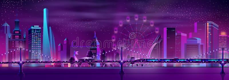 Paisaje de neón de la noche del vector de la historieta de la ciudad moderna ilustración del vector