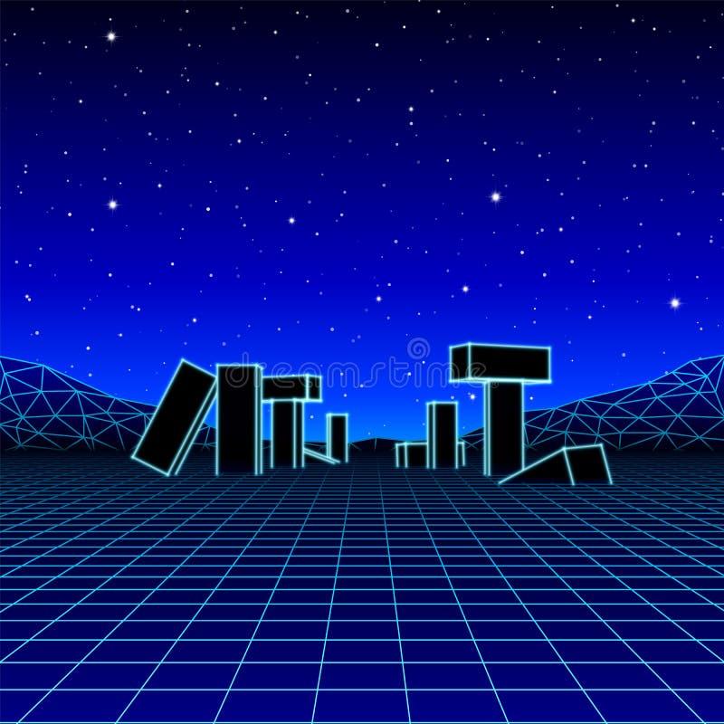 Paisaje de ne?n con estilo retro del juego de la onda 80s libre illustration
