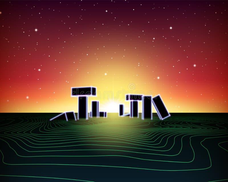 Paisaje de ne?n con estilo retro del juego de la onda 80s ilustración del vector