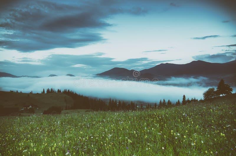 Paisaje de niebla de la mañana imagen de archivo