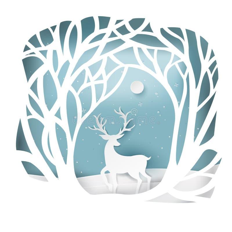Paisaje de papel del arte de la Navidad y de la Feliz Año Nuevo con el árbol ilustración del vector
