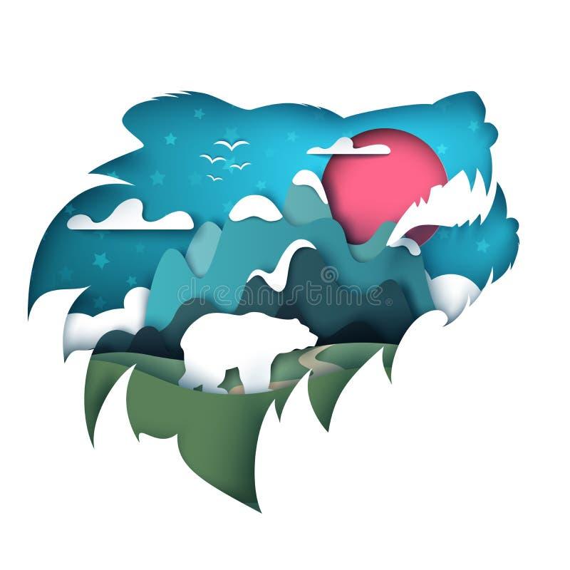 Paisaje de papel de la historieta Ejemplo del oso stock de ilustración