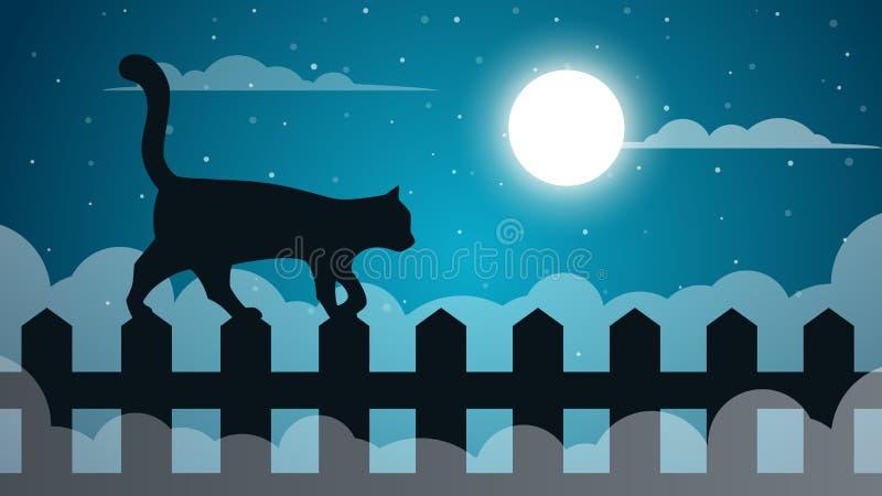 Paisaje de papel de la historieta Illustaton del gato libre illustration