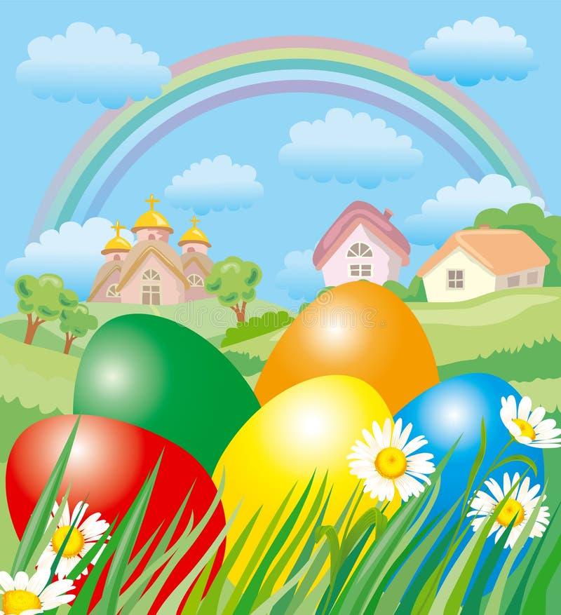Paisaje de Pascua stock de ilustración