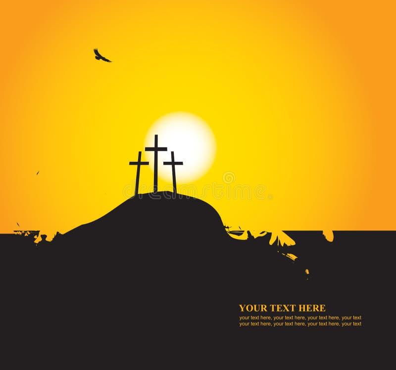 Paisaje de Pascua con el Calvary y las cruces ilustración del vector