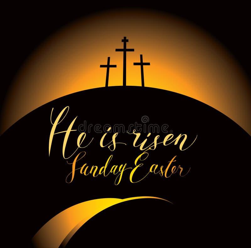 Paisaje de Pascua con el Calvary y las cruces libre illustration