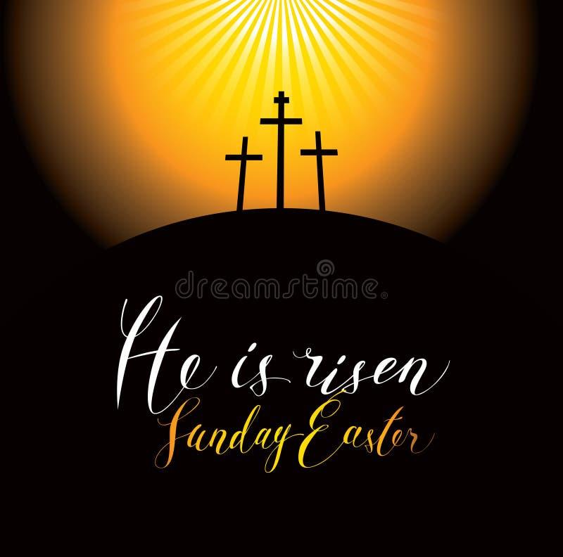Paisaje de Pascua con el Calvary y las cruces stock de ilustración
