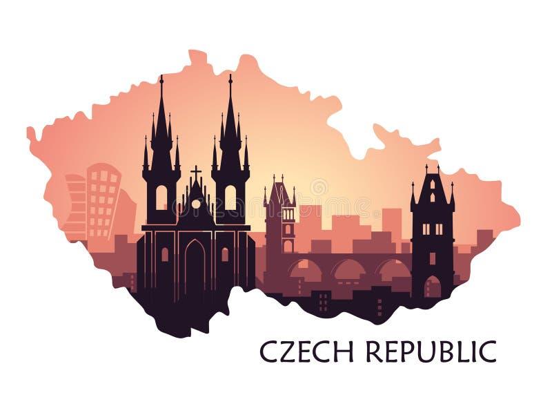 Paisaje de Praga con vistas Horizonte abstracto bajo la forma de República Checa de los mapas stock de ilustración