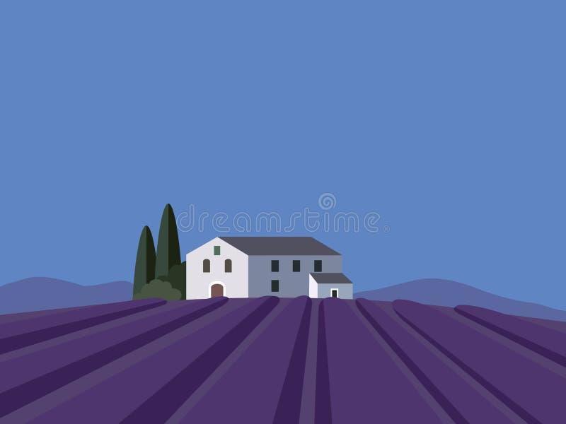 Paisaje de Provence con el campo de la lavanda, diseño plano, stock de ilustración