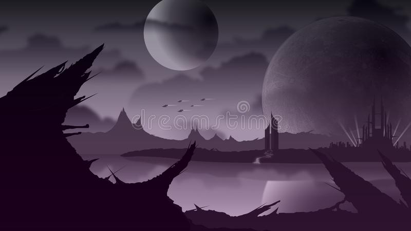 Paisaje de Sci Fi en el planeta púrpura ilustración del vector