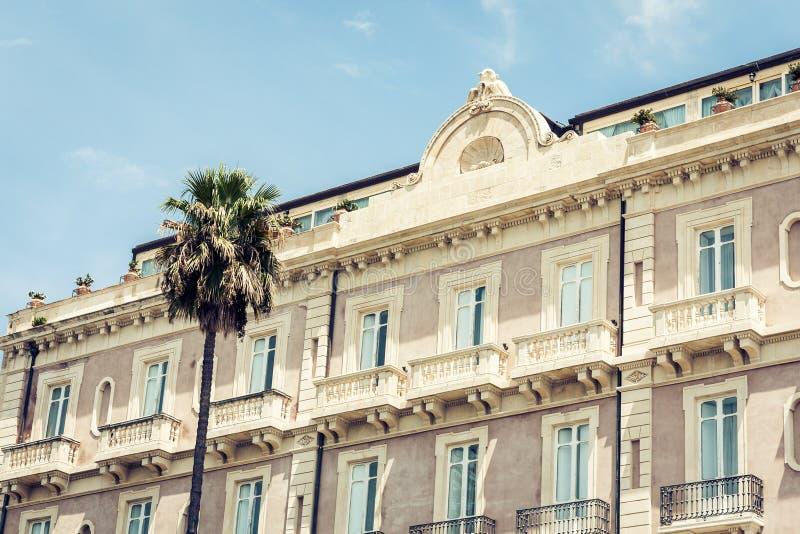 Paisaje de Sicilia, vista de edificios viejos en la isla de Ortygia Ortigia, Syracuse, Sicilia, Italia fotos de archivo libres de regalías