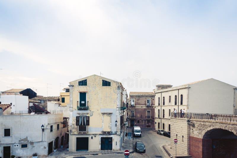 Paisaje de Sicilia, vista de edificios viejos en la isla de Ortygia Ortigia, Syracuse, Sicilia, Italia imagen de archivo libre de regalías