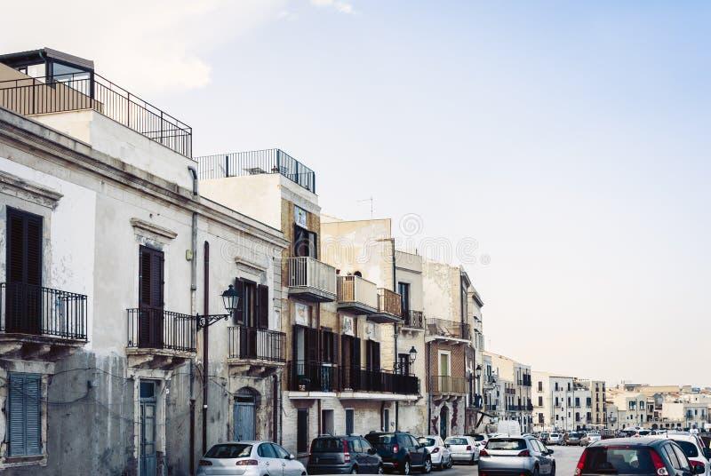 Paisaje de Sicilia, vista de edificios viejos en la isla de Ortygia Ortigia, Syracuse, Sicilia, Italia fotos de archivo
