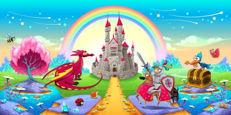 Paisaje de sueños con el dragón y el caballero ilustración del vector