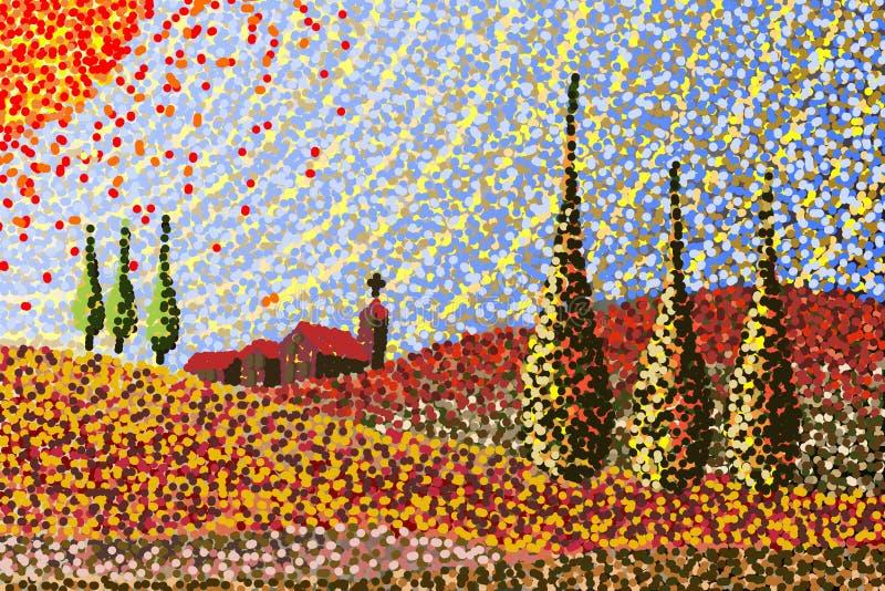 Paisaje de Toscana - bosquejo hecho a mano stock de ilustración
