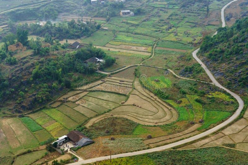 Paisaje de Vietnam: El campo en la piedra-meseta de Dong Van, Viet Nam fotografía de archivo
