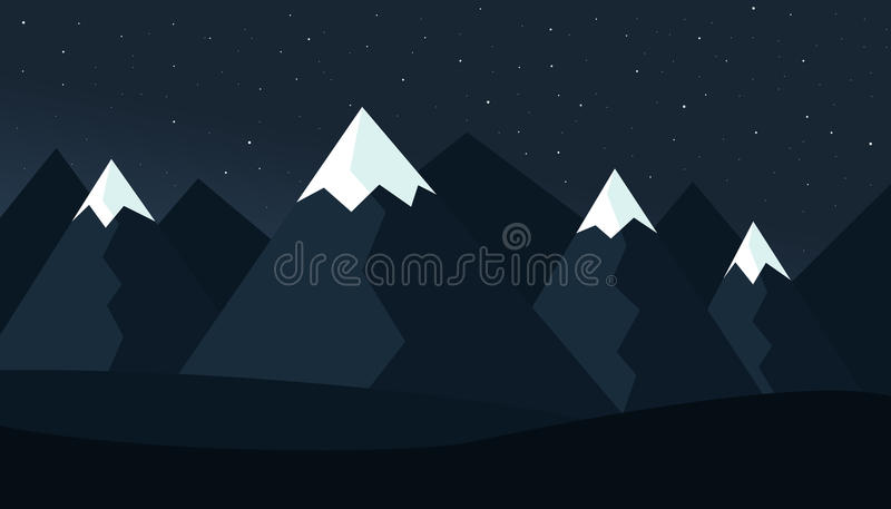 Paisaje debajo del cielo púrpura con las estrellas ilustración del vector