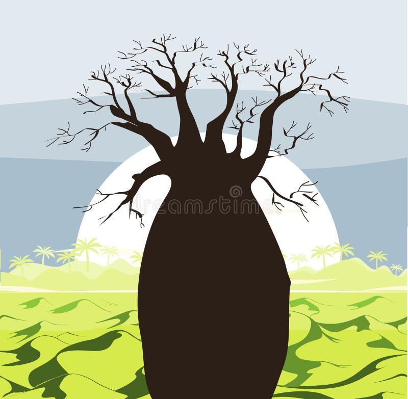 Paisaje del árbol del baobab con las colinas verdes y el sol Silueta del baobab Fondo africano de la salida del sol ilustración del vector