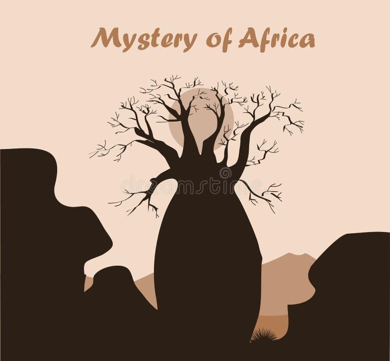 Paisaje del árbol del baobab con la roca y las montañas Silueta del baobab Fondo africano del misterio stock de ilustración