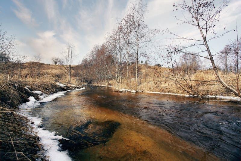 Paisaje del agua de la cala de la primavera fotografía de archivo