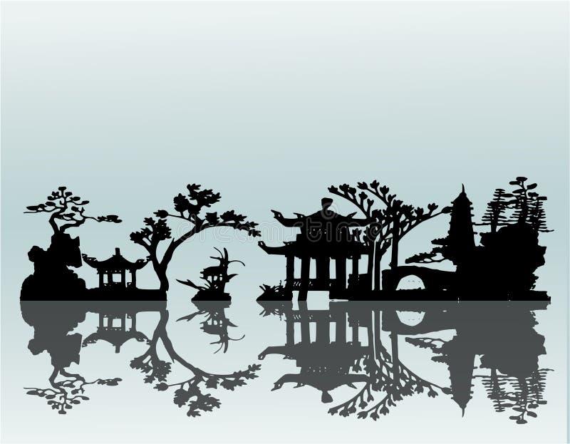 Paisaje del asiático del vector stock de ilustración