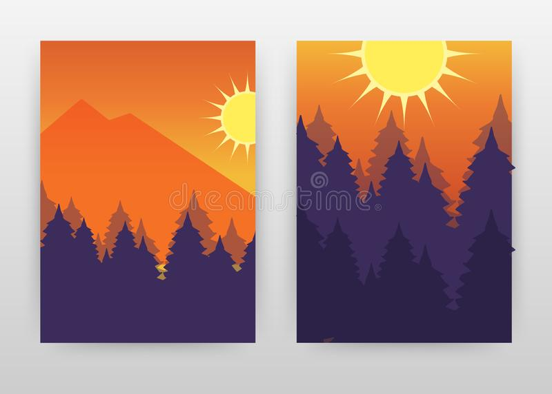 Paisaje del bosque con el diseño de negocio del sol y de los mountans para anual, folleto, aviador, cartel Vector del fondo del b libre illustration
