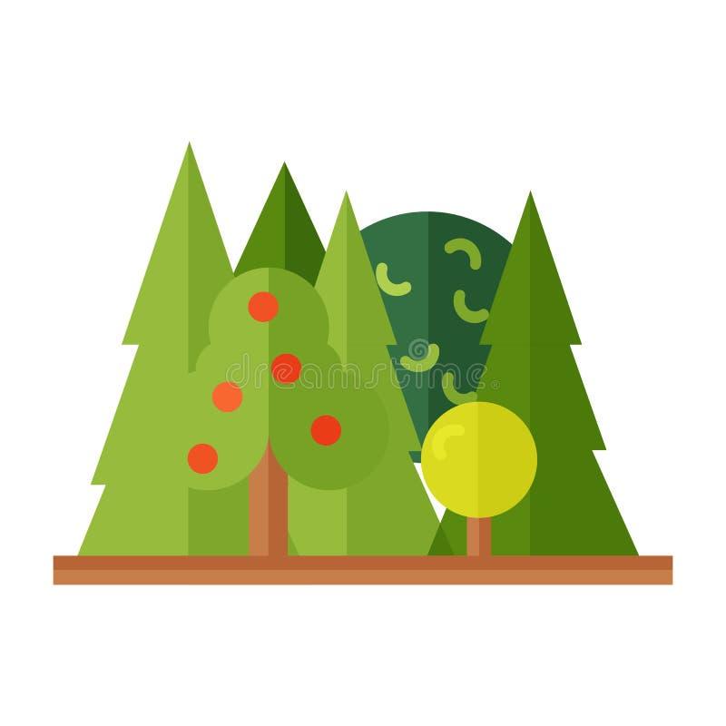 Paisaje del bosque con los pinos, arbustos en estilo plano sin esquema Naturaleza scenery Ilustración del vector Naturaleza de la ilustración del vector