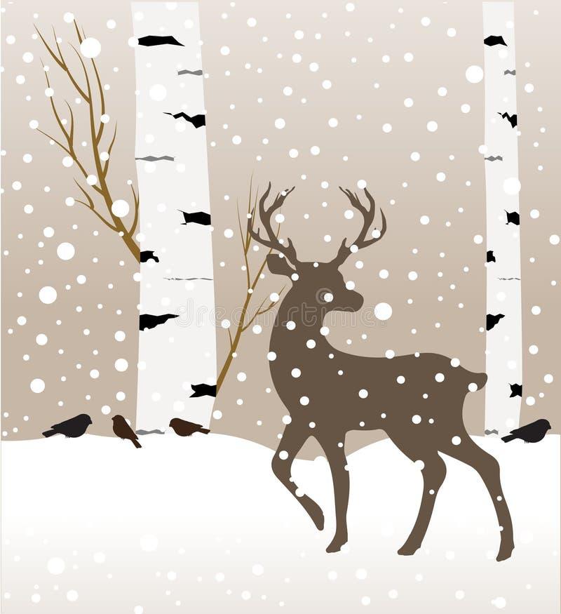 Paisaje del bosque del invierno de la nieve con los ciervos Ejemplo abstracto del vector del árbol del forestbirch del invierno ilustración del vector