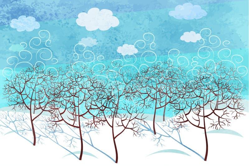 Paisaje del bosque del invierno por la mañana stock de ilustración