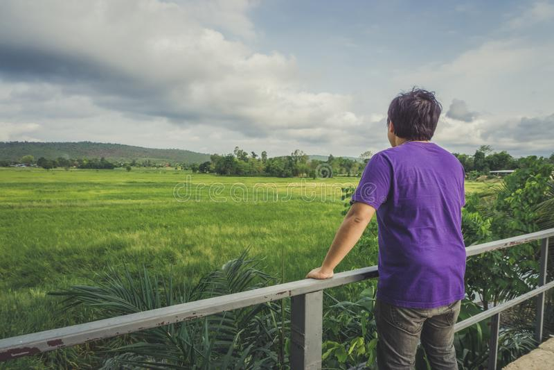 Paisaje del bosque verde con la parte posterior del viajero turístico del hombre asiático en la montaña fotografía de archivo libre de regalías