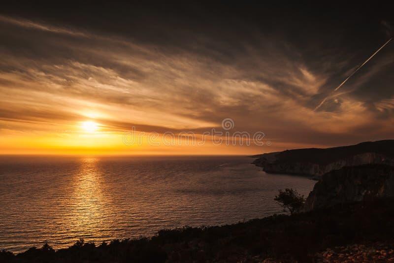 Paisaje del cabo Keri Zakynthos, puesta del sol imagen de archivo libre de regalías