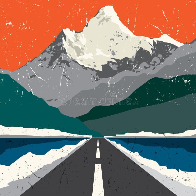 Paisaje del camino de las montañas Aventura al aire libre, montaña de la expedición ilustración del vector