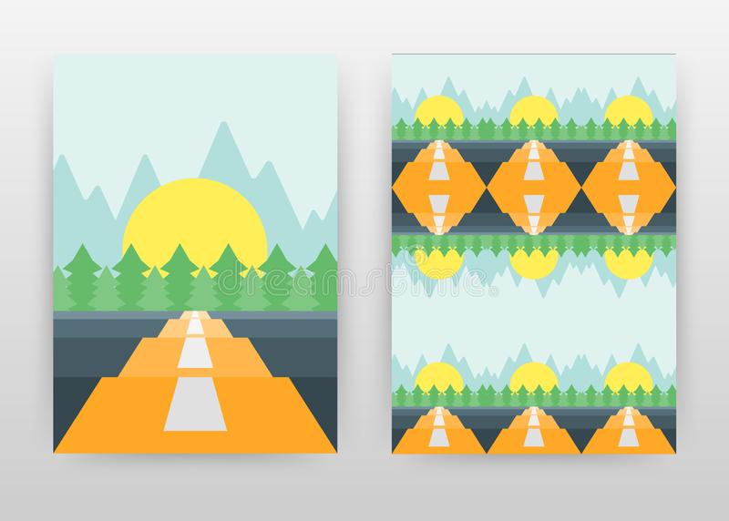 Paisaje del camino, del sol, de los árboles de pino y de las montañas folleto del diseño de negocio, aviador, cartel Vector del f stock de ilustración