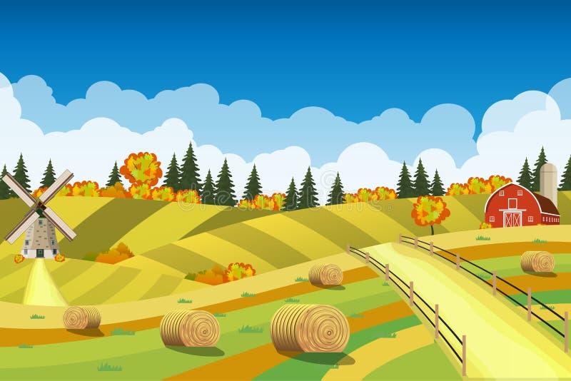 Paisaje del campo con los pajares en campos ilustración del vector
