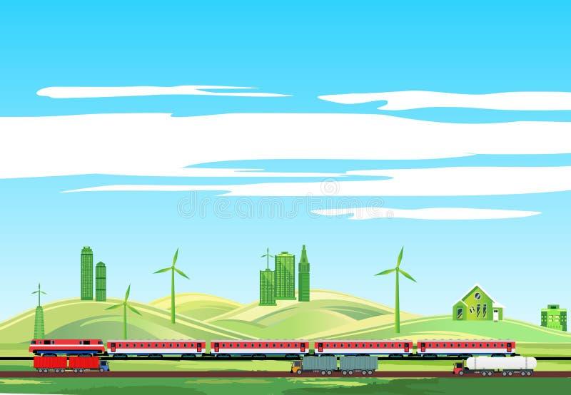 Paisaje del campo, tren en el ferrocarril, highwayr fotografía de archivo libre de regalías