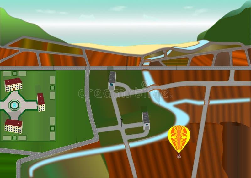 Paisaje del campo visto desde arriba de perspectiva de desaparición hecha del punto foto de archivo libre de regalías