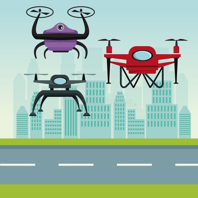 Paisaje del cielo con los edificios y escena de la calle con los abejones modernos del robot con el vuelo y la base de dos hélice libre illustration
