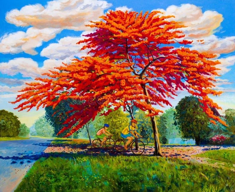 Paisaje del color de aceite de la pintura de las flores de pavo real, y de la mujer, hombre ilustración del vector