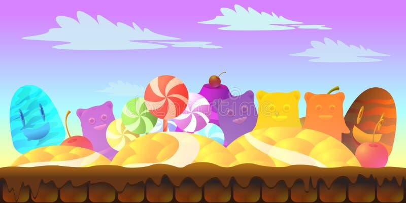 Paisaje del cuento de hadas de la historieta Ejemplo de la tierra del caramelo para el diseño de juego libre illustration