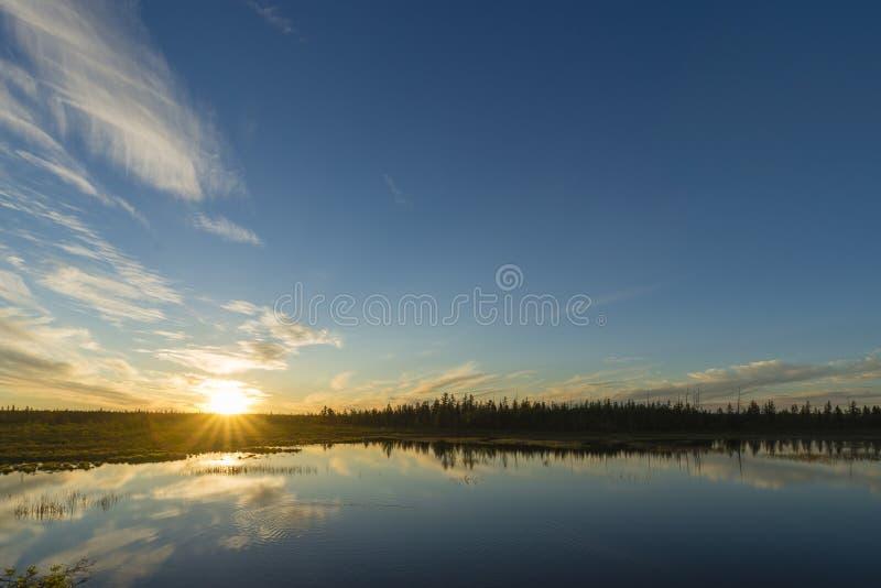 Paisaje del día de verano con el río, el bosque y el cielo nublado fotografía de archivo libre de regalías