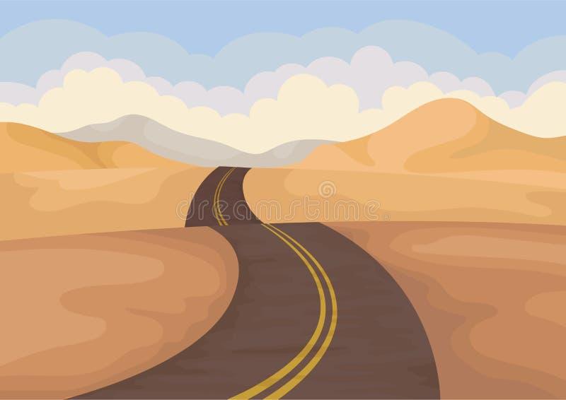 Paisaje del desierto con la carretera de asfalto Valle con las colinas de la arena y el cielo azul Paisaje al aire libre Diseño p libre illustration