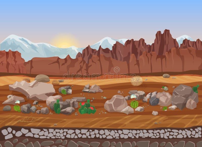 Paisaje del desierto de la piedra seca de la pradera de la historieta con el cactus, las montañas, las rocas y la arena stock de ilustración