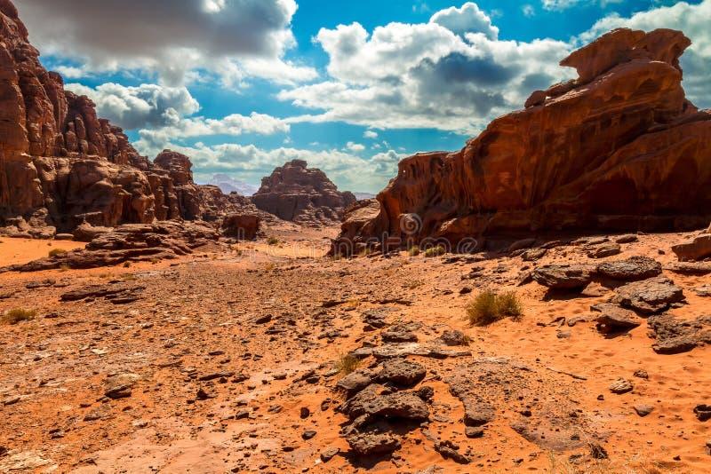 Paisaje Del Desierto Del Ron Del Lecho De Un Río Seco, Jordania Imágenes de archivo libres de regalías