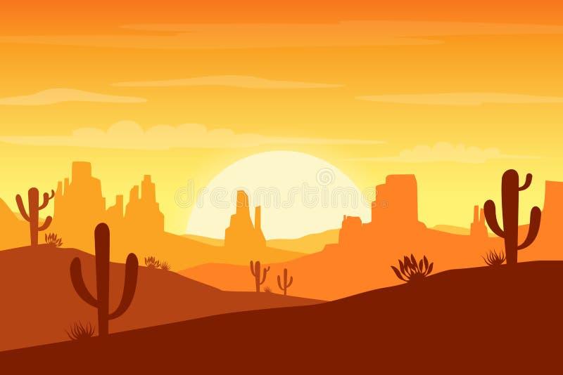 Paisaje del desierto en la puesta del sol con el cactus y el fondo de las siluetas de las colinas stock de ilustración