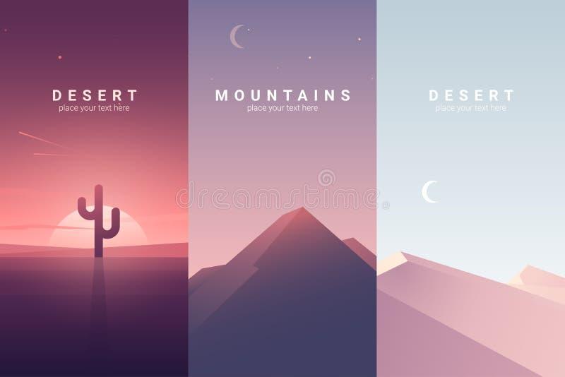 Paisaje del desierto y de la montaña Ilustración del vector del fondo fotografía de archivo libre de regalías